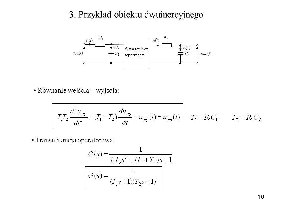10 3. Przykład obiektu dwuinercyjnego u we (t) u wy (t) i1(t)i1(t) R1R1 C1C1 i1(t)i1(t)i2(t)i2(t) C2C2 R2R2 i 2 (t) Wzmacniacz separujący Równanie wej