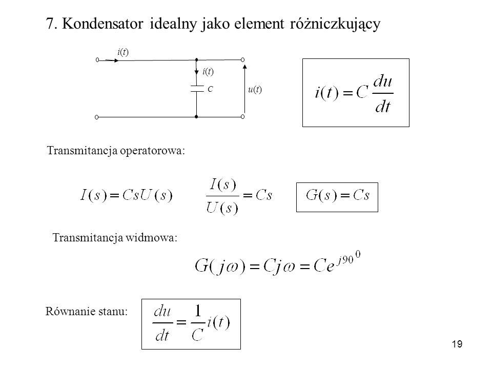19 7. Kondensator idealny jako element różniczkujący C u(t)u(t) i(t)i(t) i(t)i(t) Transmitancja operatorowa: Transmitancja widmowa: Równanie stanu: