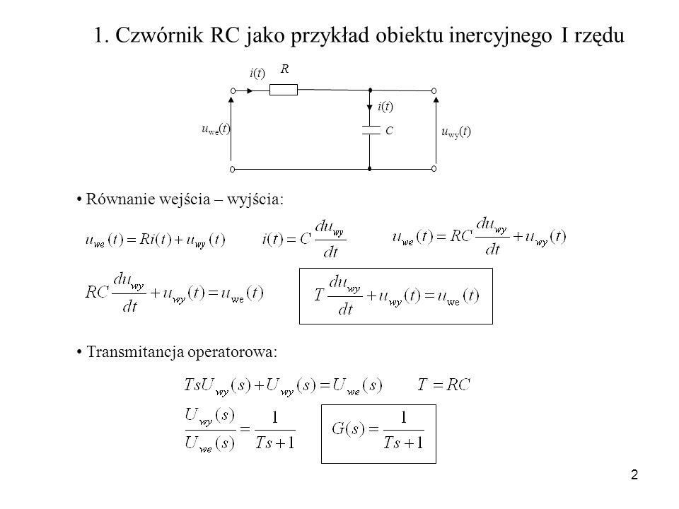 2 C u we (t) u wy (t) i(t)i(t) i(t)i(t) R 1. Czwórnik RC jako przykład obiektu inercyjnego I rzędu Równanie wejścia – wyjścia: Transmitancja operatoro