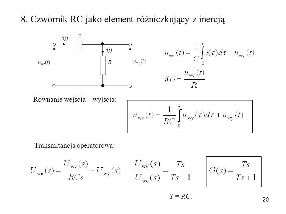 20 u wy (t) u we (t) R C i(t)i(t) i(t)i(t) 8. Czwórnik RC jako element różniczkujący z inercją Równanie wejścia – wyjścia: Transmitancja operatorowa: