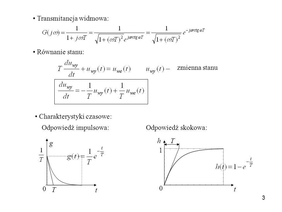 3 Transmitancja widmowa: Równanie stanu: zmienna stanu Charakterystyki czasowe: t 0 g T Odpowiedź impulsowa:Odpowiedź skokowa: t 1 Th 0