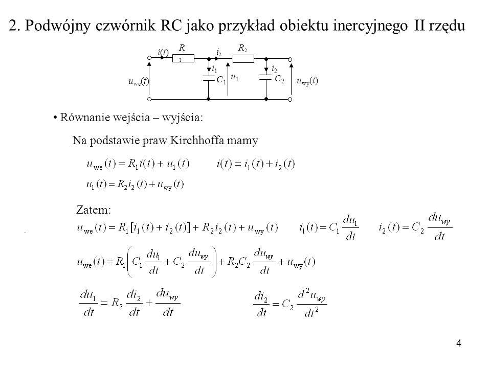 4 2. Podwójny czwórnik RC jako przykład obiektu inercyjnego II rzędu R1R1 C1C1 u we (t) u wy (t) i(t)i(t) C2C2 R2R2 i1i1 i2i2 i2i2 u1u1. Na podstawie