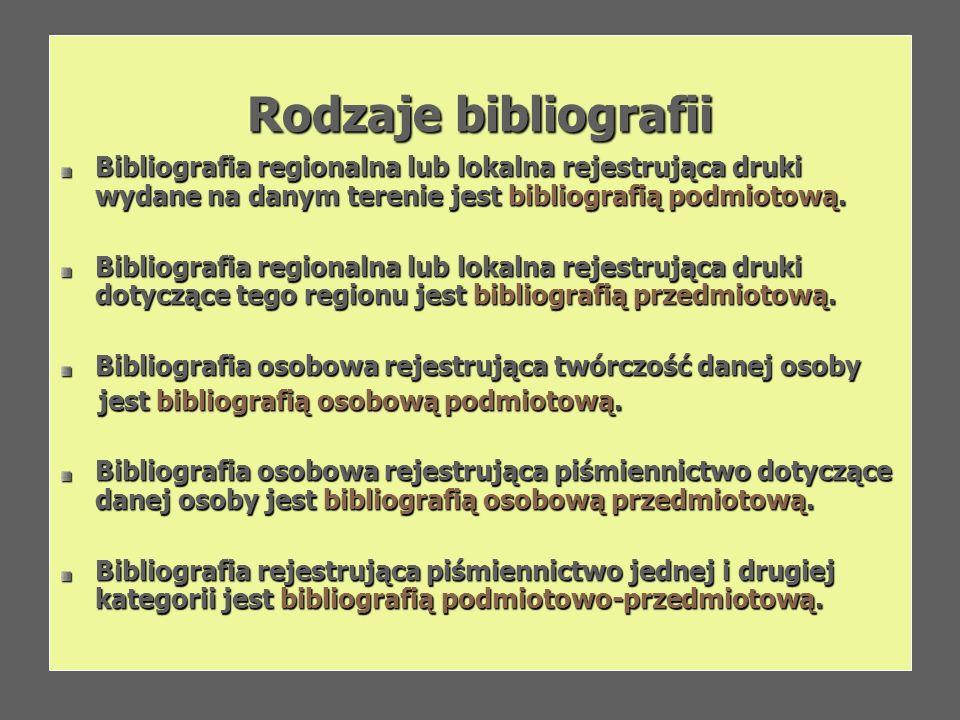 Rodzaje bibliografii Bibliografia regionalna lub lokalna rejestrująca druki wydane na danym terenie jest bibliografią podmiotową. Bibliografia regiona