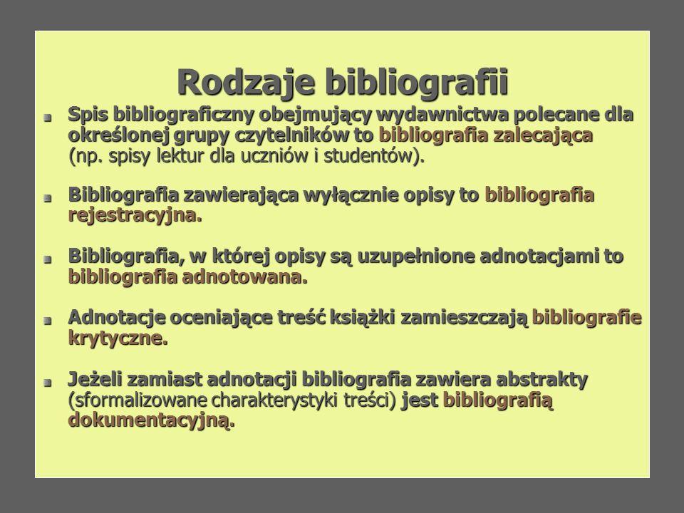 Rodzaje bibliografii Spis bibliograficzny obejmujący wydawnictwa polecane dla określonej grupy czytelników to bibliografia zalecająca (np. spisy lektu