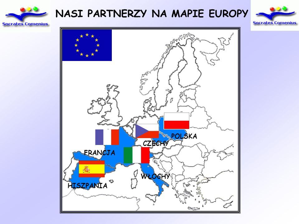 NASI PARTNERZY NA MAPIE EUROPY HISZPANIA FRANCJA WŁOCHY CZECHY POLSKA