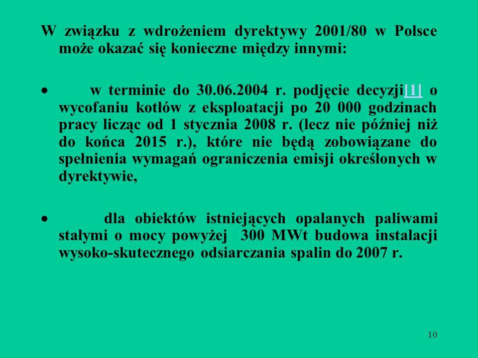 10 W związku z wdrożeniem dyrektywy 2001/80 w Polsce może okazać się konieczne między innymi: w terminie do 30.06.2004 r.