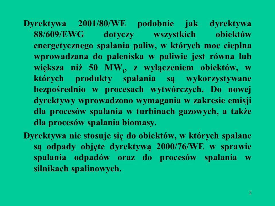 2 Dyrektywa 2001/80/WE podobnie jak dyrektywa 88/609/EWG dotyczy wszystkich obiektów energetycznego spalania paliw, w których moc cieplna wprowadzana do paleniska w paliwie jest równa lub większa niż 50 MW t, z wyłączeniem obiektów, w których produkty spalania są wykorzystywane bezpośrednio w procesach wytwórczych.