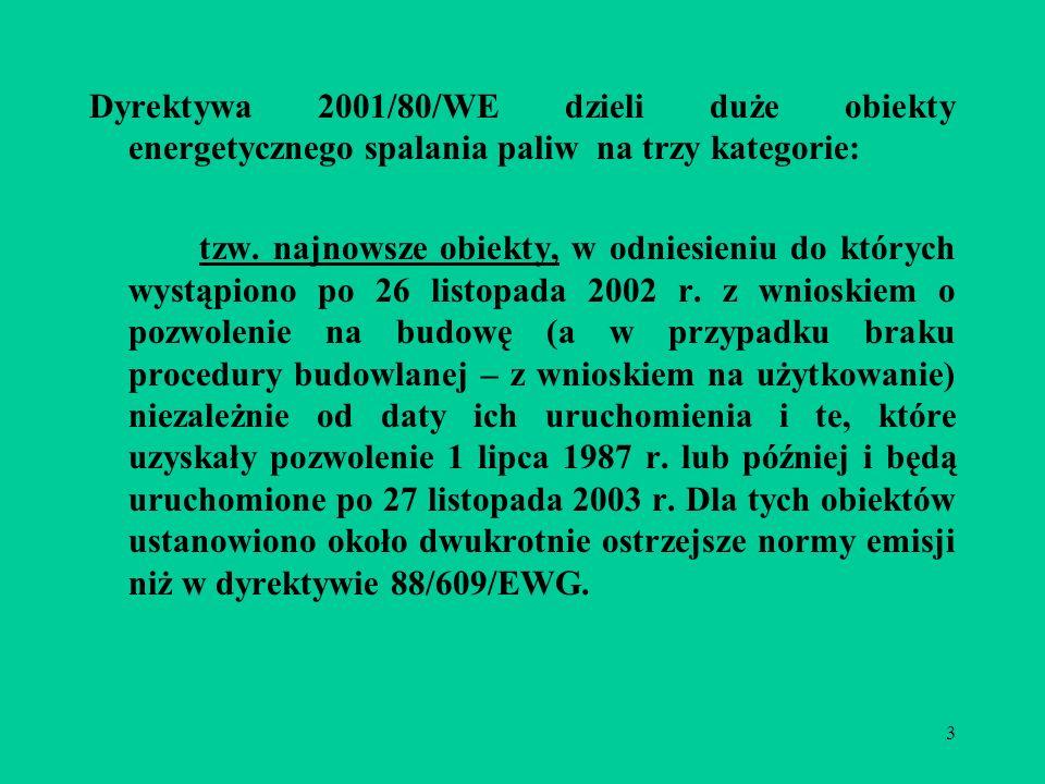 3 Dyrektywa 2001/80/WE dzieli duże obiekty energetycznego spalania paliw na trzy kategorie:  tzw.