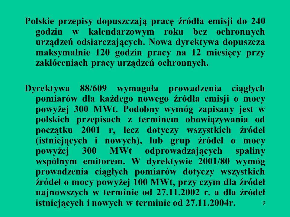 9 Polskie przepisy dopuszczają pracę źródła emisji do 240 godzin w kalendarzowym roku bez ochronnych urządzeń odsiarczających.