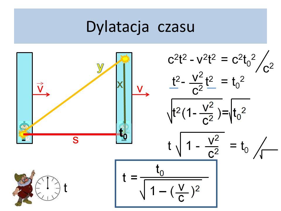 Dylatacja czasu v v Czas jest WZGLĘDNY! t > t 0 t t0t0