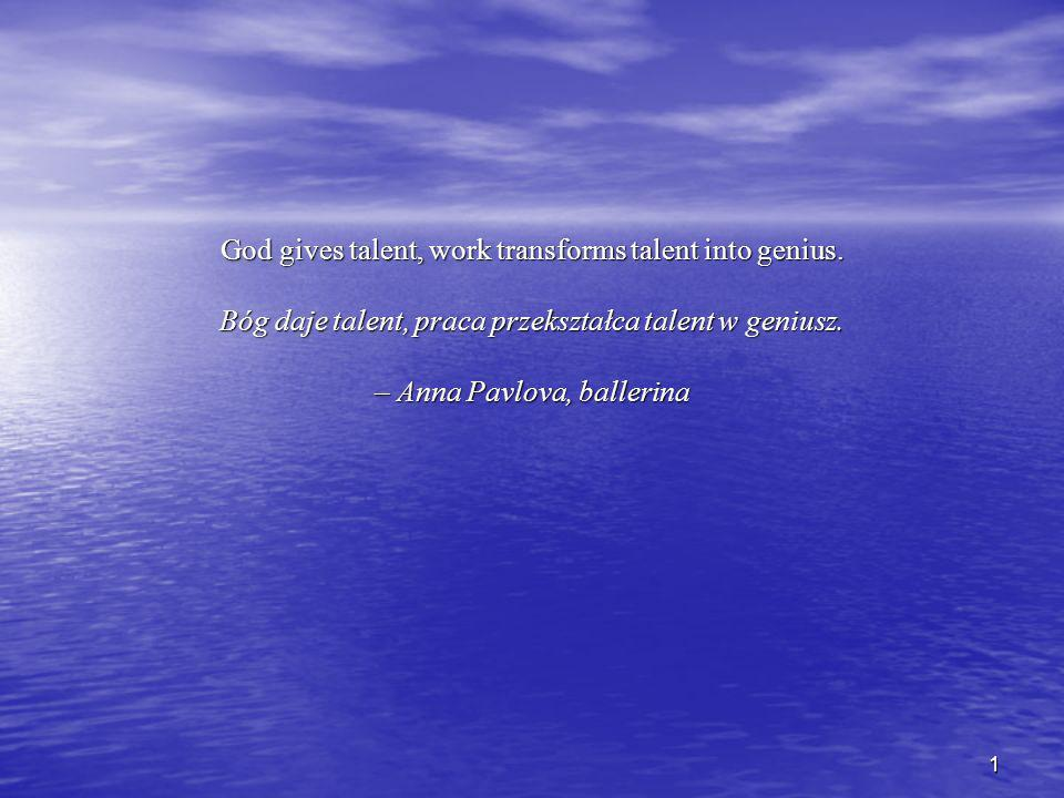 1 God gives talent, work transforms talent into genius.
