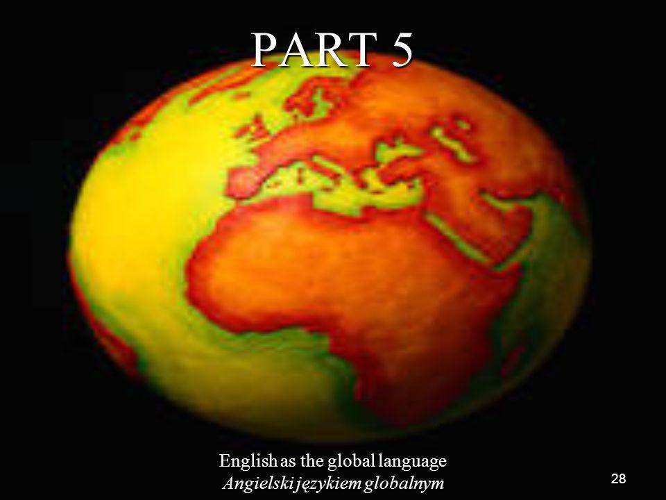 28 PART 5 English as the global language Angielski językiem globalnym