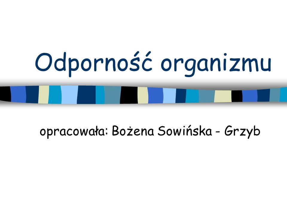 Odporność organizmu opracowała: Bożena Sowińska - Grzyb