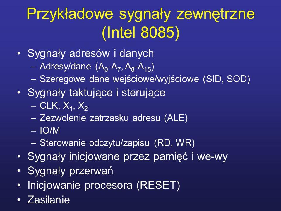 Przykładowe sygnały zewnętrzne (Intel 8085) Sygnały adresów i danych –Adresy/dane (A 0 -A 7, A 8 -A 15 ) –Szeregowe dane wejściowe/wyjściowe (SID, SOD