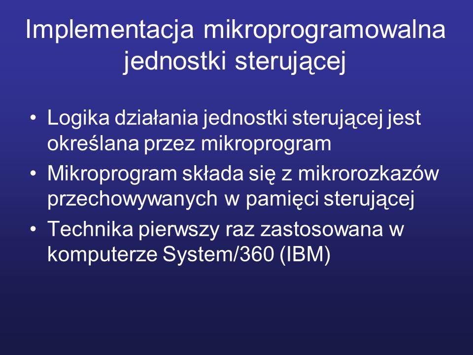 Implementacja mikroprogramowalna jednostki sterującej Logika działania jednostki sterującej jest określana przez mikroprogram Mikroprogram składa się