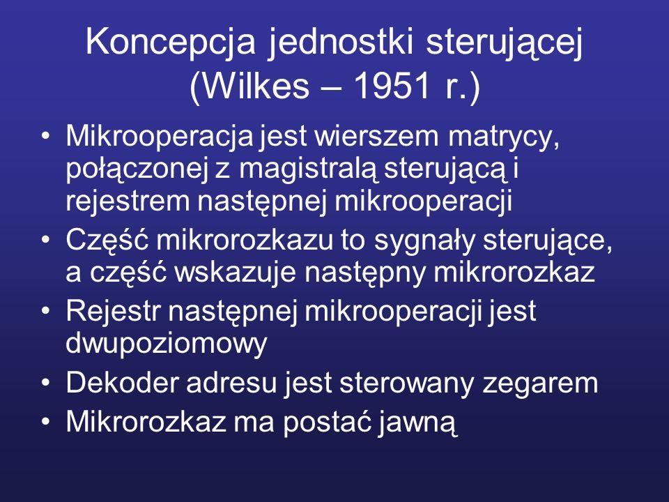 Koncepcja jednostki sterującej (Wilkes – 1951 r.) Mikrooperacja jest wierszem matrycy, połączonej z magistralą sterującą i rejestrem następnej mikroop