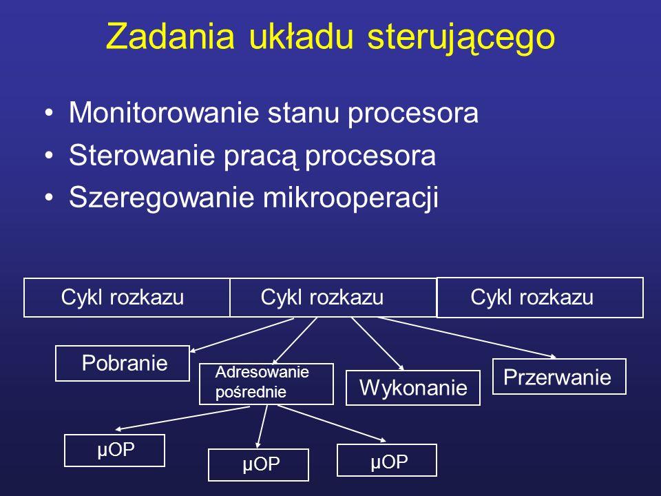 Zadania układu sterującego Monitorowanie stanu procesora Sterowanie pracą procesora Szeregowanie mikrooperacji Cykl rozkazu Pobranie Adresowanie pośre
