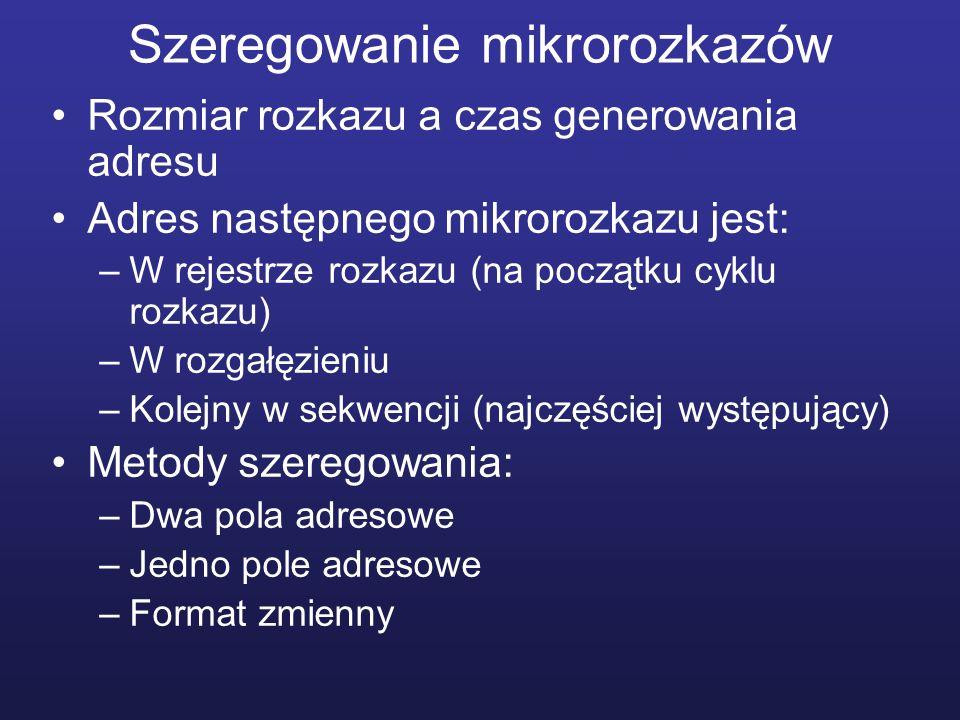 Szeregowanie mikrorozkazów Rozmiar rozkazu a czas generowania adresu Adres następnego mikrorozkazu jest: –W rejestrze rozkazu (na początku cyklu rozka