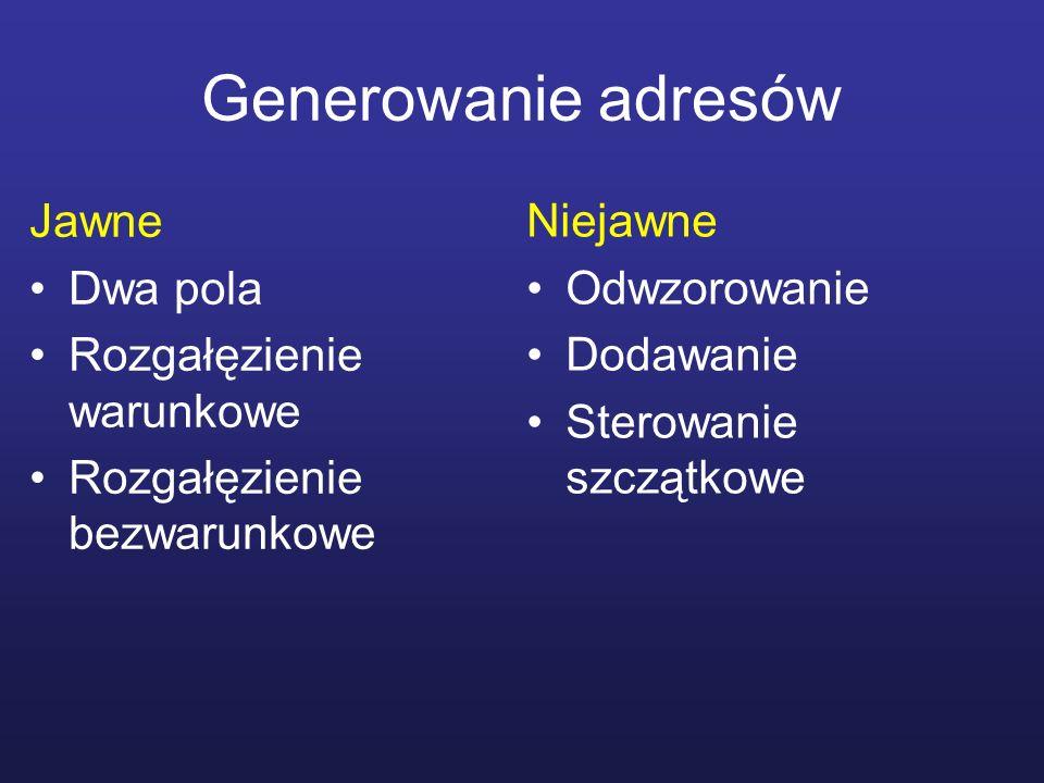 Generowanie adresów Jawne Dwa pola Rozgałęzienie warunkowe Rozgałęzienie bezwarunkowe Niejawne Odwzorowanie Dodawanie Sterowanie szczątkowe