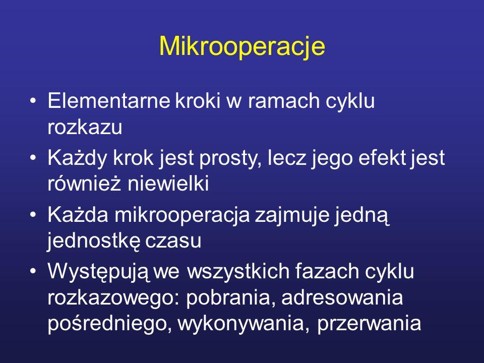 Mikrooperacje Elementarne kroki w ramach cyklu rozkazu Każdy krok jest prosty, lecz jego efekt jest również niewielki Każda mikrooperacja zajmuje jedn