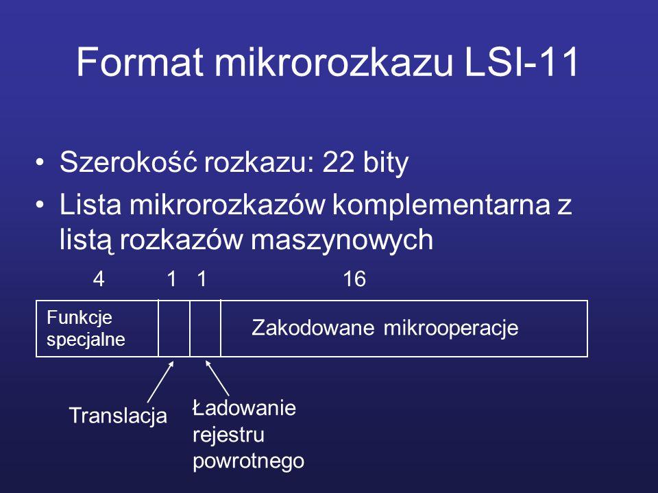 Format mikrorozkazu LSI-11 Szerokość rozkazu: 22 bity Lista mikrorozkazów komplementarna z listą rozkazów maszynowych Funkcje specjalne Translacja Ład