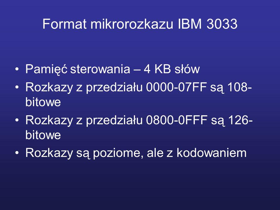 Format mikrorozkazu IBM 3033 Pamięć sterowania – 4 KB słów Rozkazy z przedziału 0000-07FF są 108- bitowe Rozkazy z przedziału 0800-0FFF są 126- bitowe