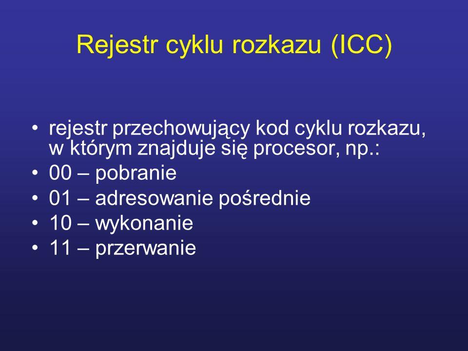 Rejestr cyklu rozkazu (ICC) rejestr przechowujący kod cyklu rozkazu, w którym znajduje się procesor, np.: 00 – pobranie 01 – adresowanie pośrednie 10