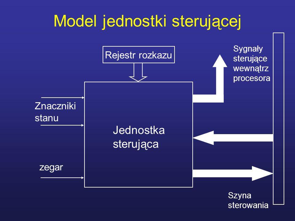 Wykonywanie mikrorozkazów Cykl mikrorozkazu składa się z fazy pobrania i wykonania Wykonanie powoduje umieszczenie na magistrali wewnętrznej i systemowej sygnałów sterujących oraz określenie adresu następnego rozkazu Kombinacja bitów sterujących związana z mikrorozkazem jest kodowana