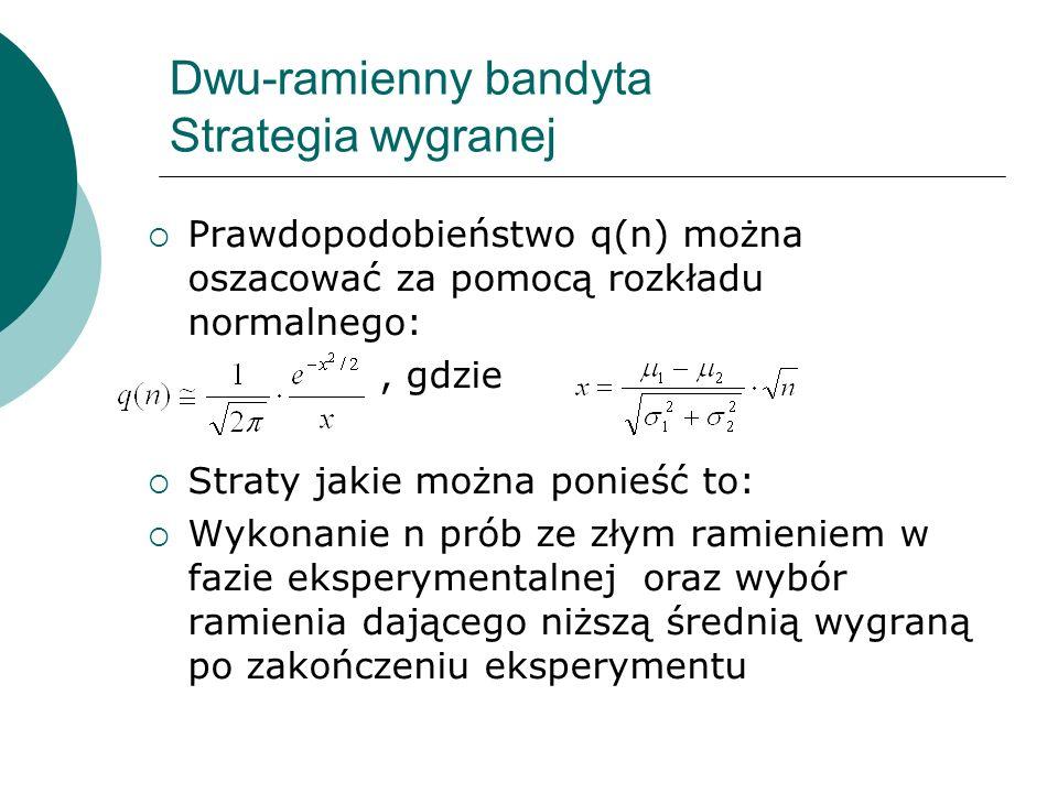 Dwu-ramienny bandyta Strategia wygranej Prawdopodobieństwo q(n) można oszacować za pomocą rozkładu normalnego:, gdzie Straty jakie można ponieść to: W