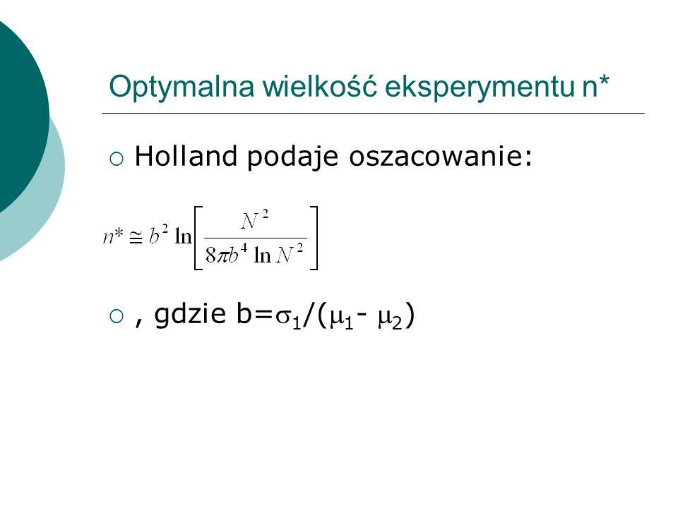Optymalna wielkość eksperymentu n* Holland podaje oszacowanie:, gdzie b= 1 /( 1 - 2 )