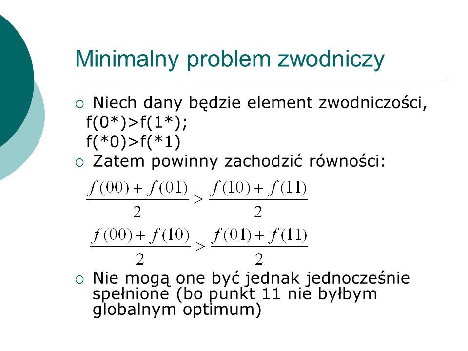 Minimalny problem zwodniczy Niech dany będzie element zwodniczości, f(0*)>f(1*); f(*0)>f(*1) Zatem powinny zachodzić równości: Nie mogą one być jednak