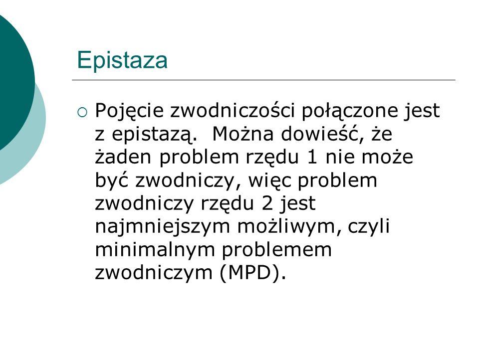 Epistaza Pojęcie zwodniczości połączone jest z epistazą. Można dowieść, że żaden problem rzędu 1 nie może być zwodniczy, więc problem zwodniczy rzędu