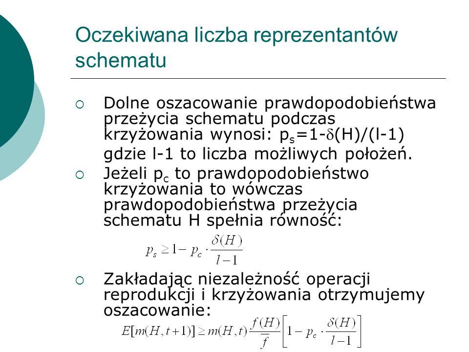 Oczekiwana liczba reprezentantów schematu Dolne oszacowanie prawdopodobieństwa przeżycia schematu podczas krzyżowania wynosi: p s =1-(H)/(l-1) gdzie l