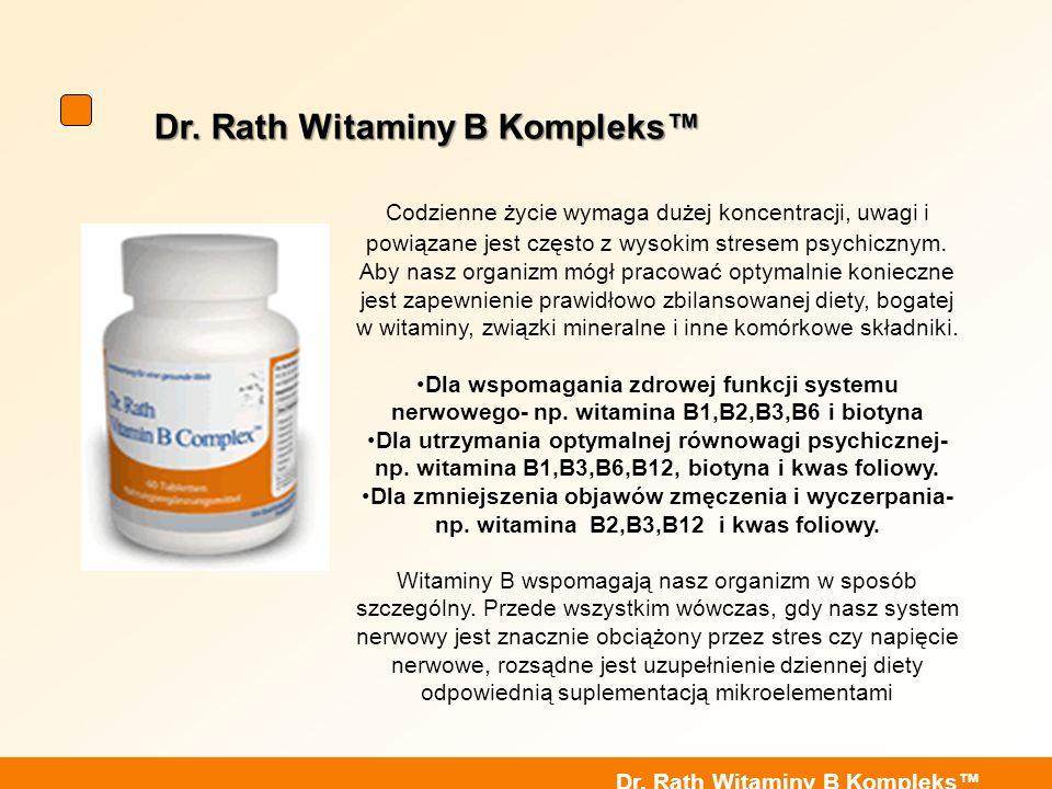 Dr. Rath Witaminy B Kompleks Codzienne życie wymaga dużej koncentracji, uwagi i powiązane jest często z wysokim stresem psychicznym. Aby nasz organizm