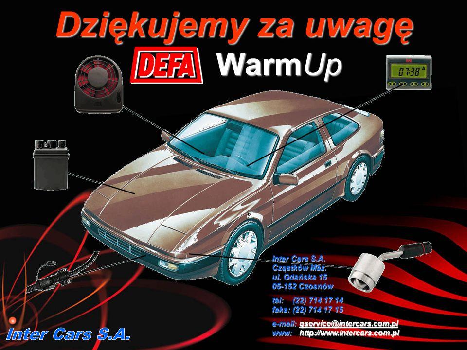 Dziękujemy za uwagę WarmUp Inter Cars S.A. Cząstków Maz. ul. Gdańska 15 05-152 Czosnów tel: (22) 714 17 14 faks: (22) 714 17 15 e-mail: qservice@inter
