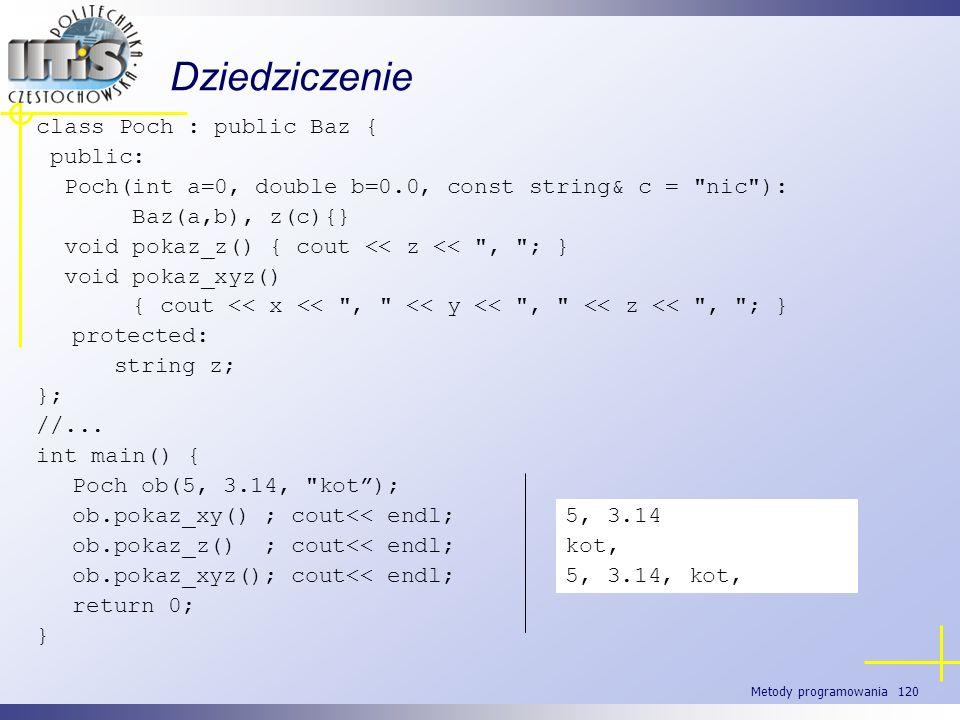Metody programowania 120 class Poch : public Baz { public: Poch(int a=0, double b=0.0, const string& c =