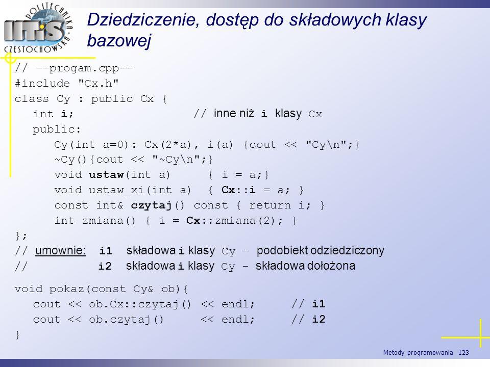Metody programowania 123 Dziedziczenie, dostęp do składowych klasy bazowej // --progam.cpp-- #include