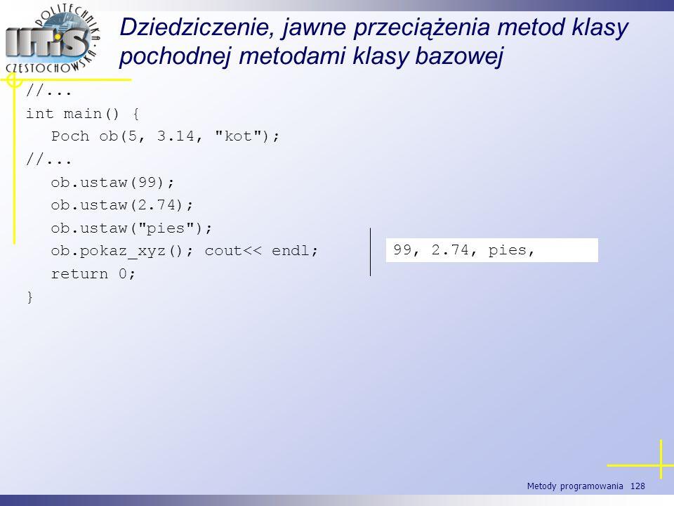 Metody programowania 128 Dziedziczenie, jawne przeciążenia metod klasy pochodnej metodami klasy bazowej //... int main() { Poch ob(5, 3.14,