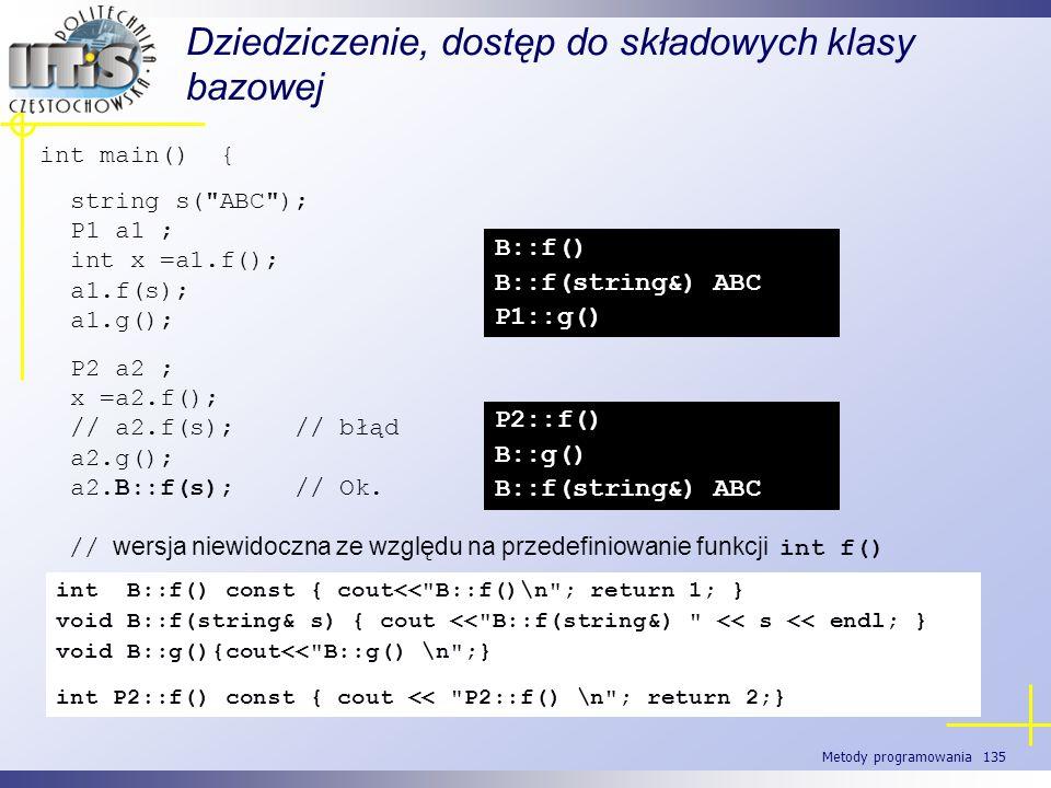 Metody programowania 135 Dziedziczenie, dostęp do składowych klasy bazowej int main() { string s(