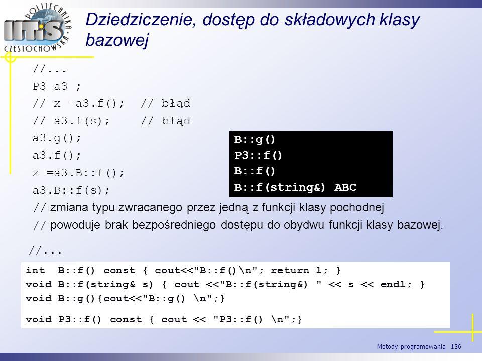 Metody programowania 136 Dziedziczenie, dostęp do składowych klasy bazowej //... P3 a3 ; // x =a3.f(); // błąd // a3.f(s); // błąd a3.g(); a3.f(); x =