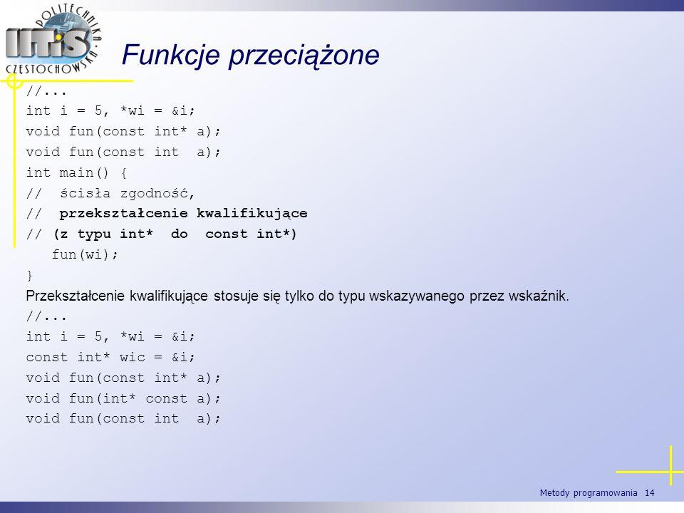 Metody programowania 14 Funkcje przeciążone //... int i = 5, *wi = &i; void fun(const int* a); void fun(const int a); int main() { // ścisła zgodność,