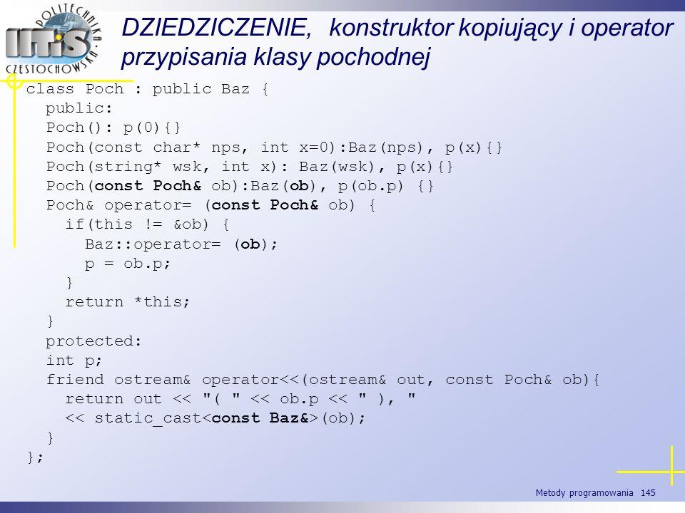 Metody programowania 145 DZIEDZICZENIE, konstruktor kopiujący i operator przypisania klasy pochodnej class Poch : public Baz { public: Poch(): p(0){}