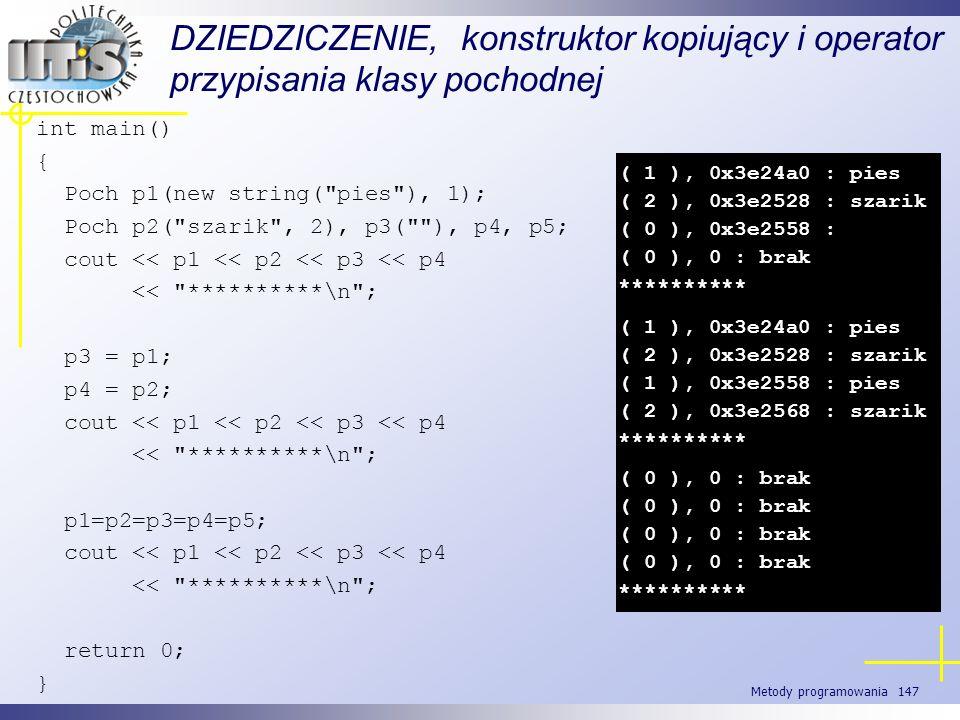 Metody programowania 147 DZIEDZICZENIE, konstruktor kopiujący i operator przypisania klasy pochodnej int main() { Poch p1(new string(