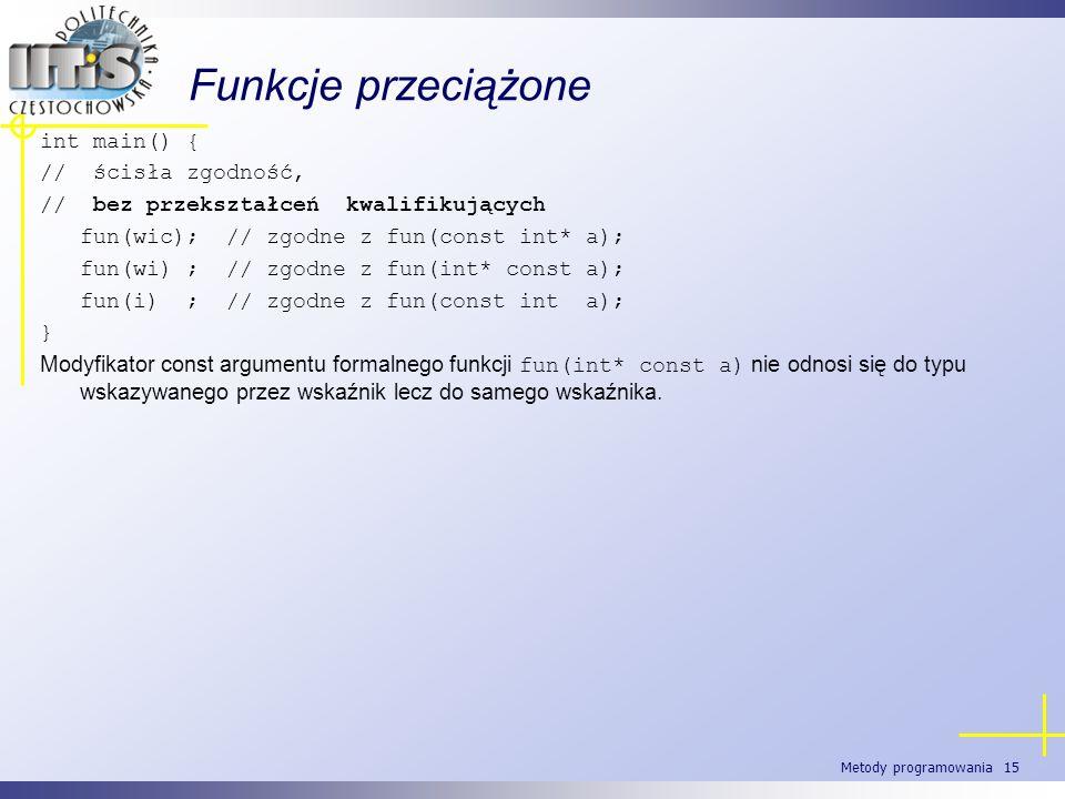 Metody programowania 15 Funkcje przeciążone int main() { // ścisła zgodność, // bez przekształceń kwalifikujących fun(wic); // zgodne z fun(const int*