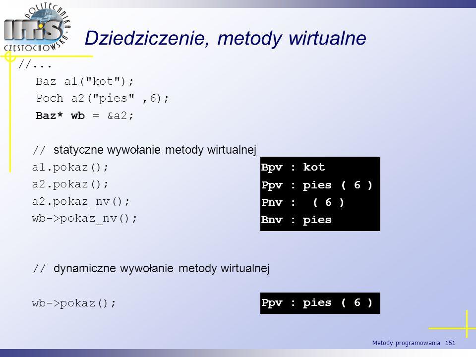 Metody programowania 151 Dziedziczenie, metody wirtualne //... Baz a1(