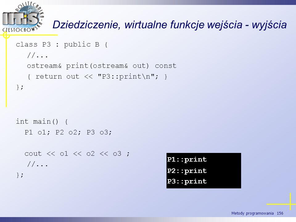 Metody programowania 156 Dziedziczenie, wirtualne funkcje wejścia - wyjścia class P3 : public B { //... ostream& print(ostream& out) const { return ou