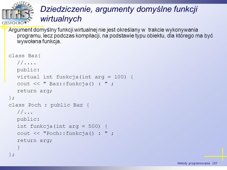 Metody programowania 157 Dziedziczenie, argumenty domyślne funkcji wirtualnych Argument domyślny funkcji wirtualnej nie jest określany w trakcie wykon