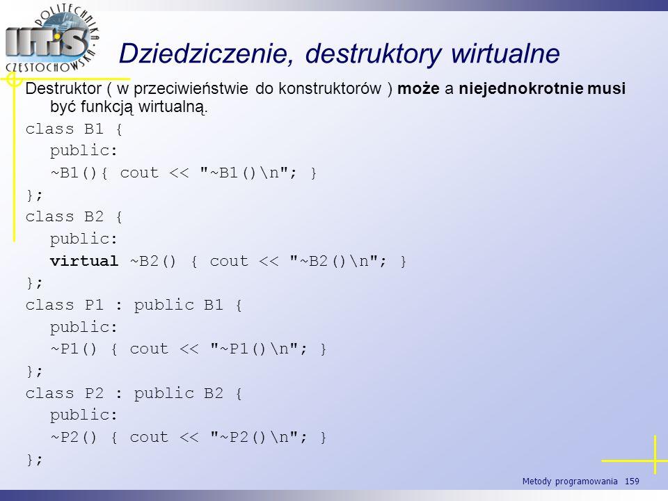 Metody programowania 159 Dziedziczenie, destruktory wirtualne Destruktor ( w przeciwieństwie do konstruktorów ) może a niejednokrotnie musi być funkcj