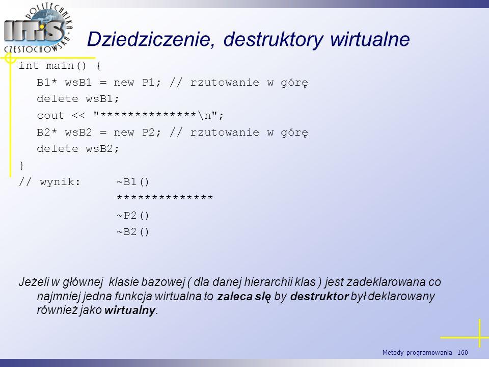 Metody programowania 160 Dziedziczenie, destruktory wirtualne int main() { B1* wsB1 = new P1; // rzutowanie w górę delete wsB1; cout <<