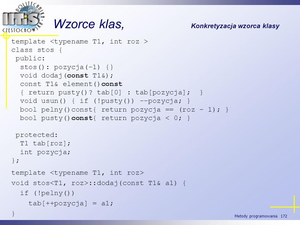 Metody programowania 172 Wzorce klas, Konkretyzacja wzorca klasy template class stos { public: stos(): pozycja(-1) {} void dodaj(const T1&); const T1&
